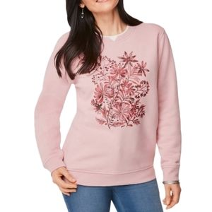 Northern reflections women's pink granny crewneck